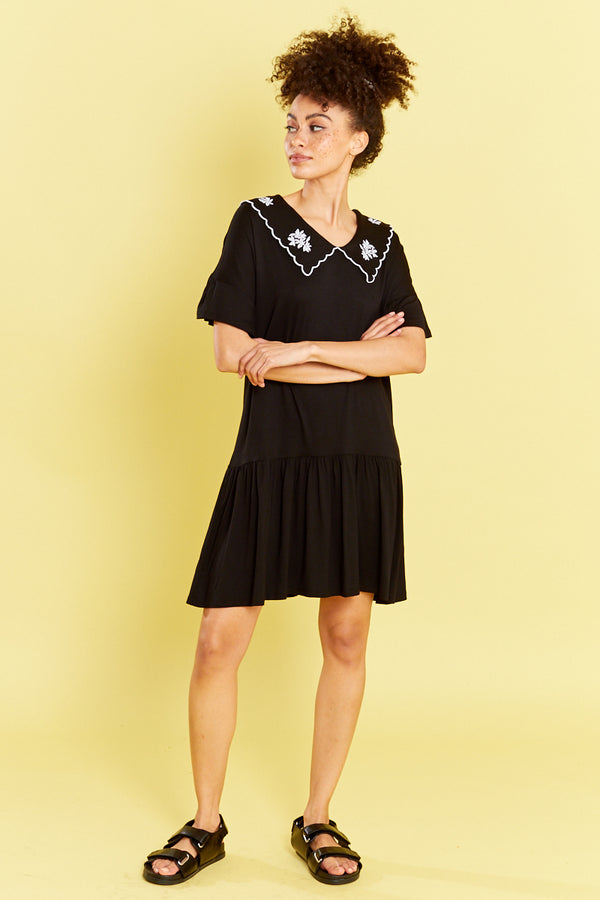 Smock Dress with Embroidered Collar - Black