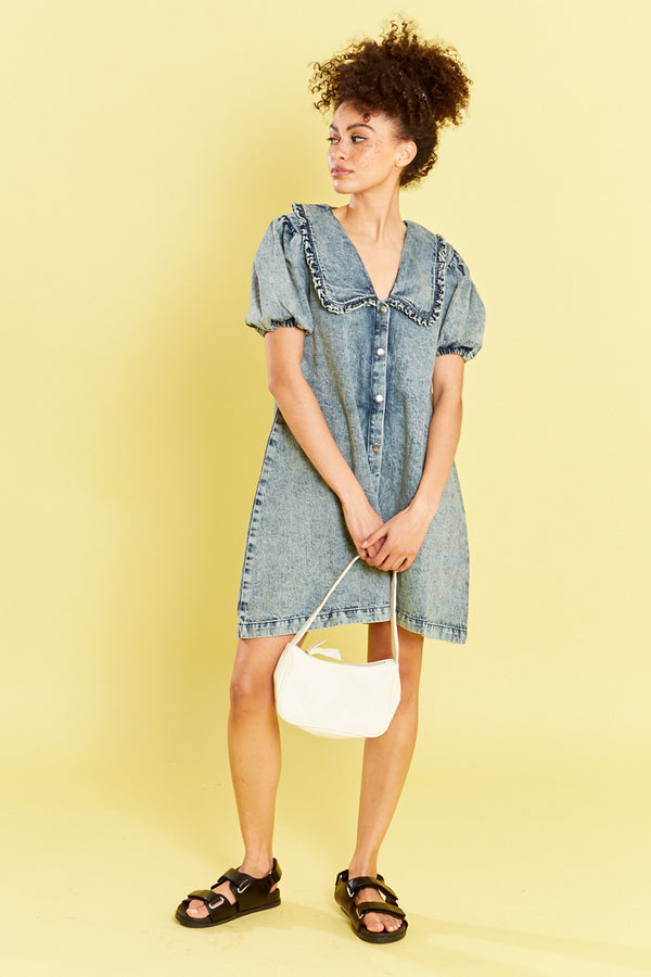 Denim Dress with Frill Collar  - Blue