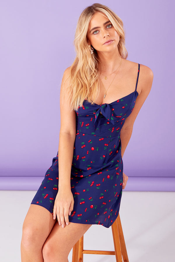 Cherry Print Tie Front Mini Dress - Blue