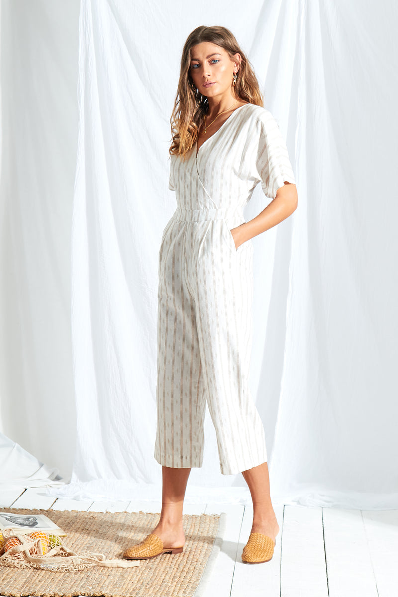 Stripe Tassel Jumpsuit - White