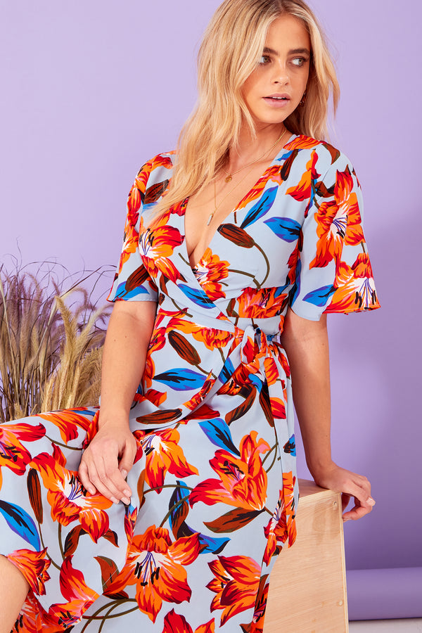 Lola Floral Wrap Midi Dress - Blue