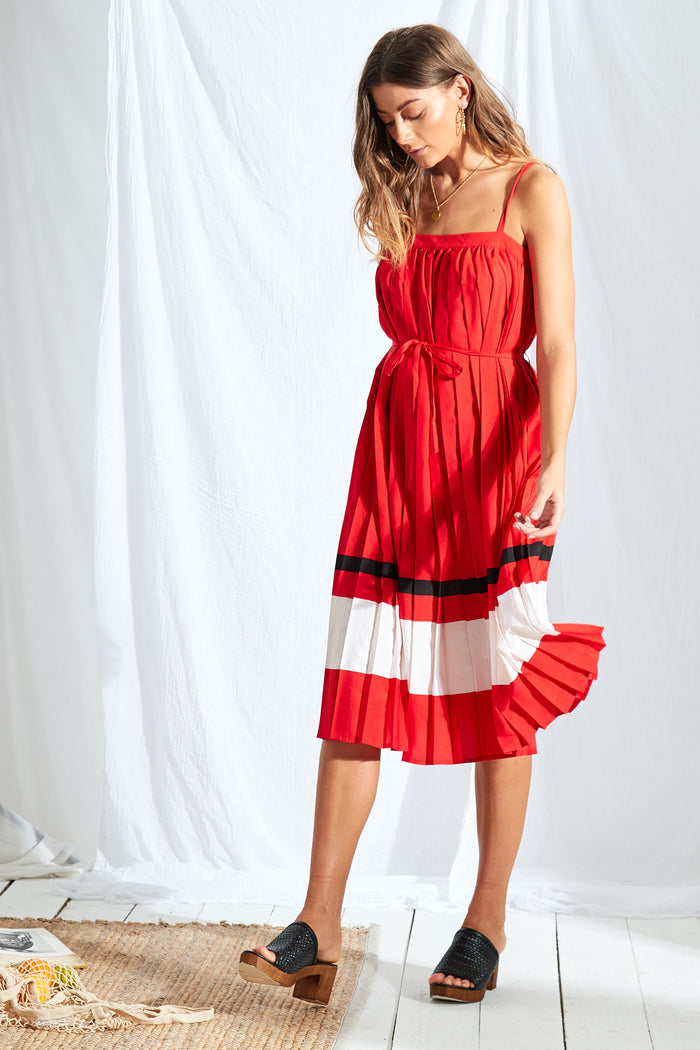 Sports Stripe Pleated Midi Dress