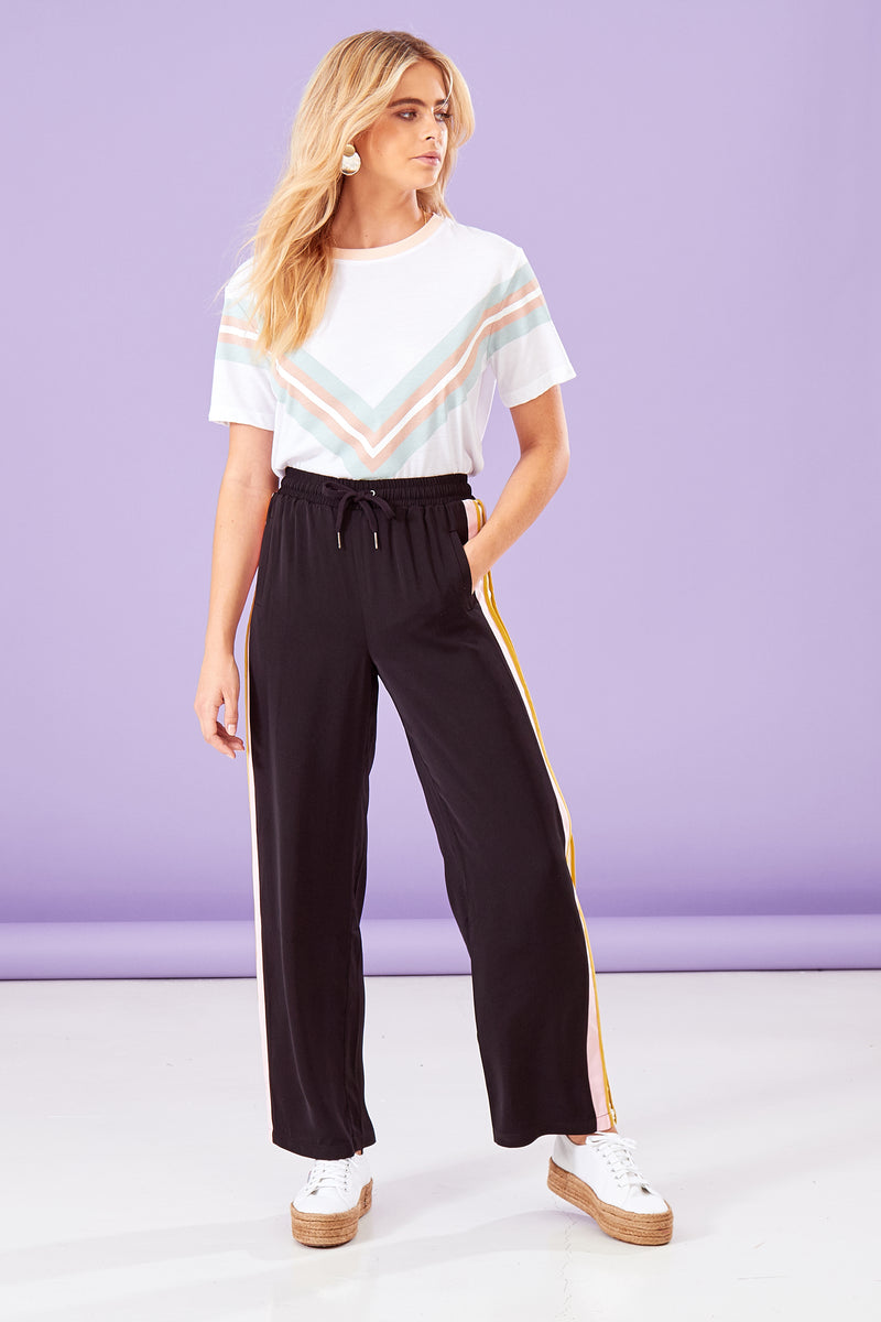Pastel Sports Stripe Trousers - Black
