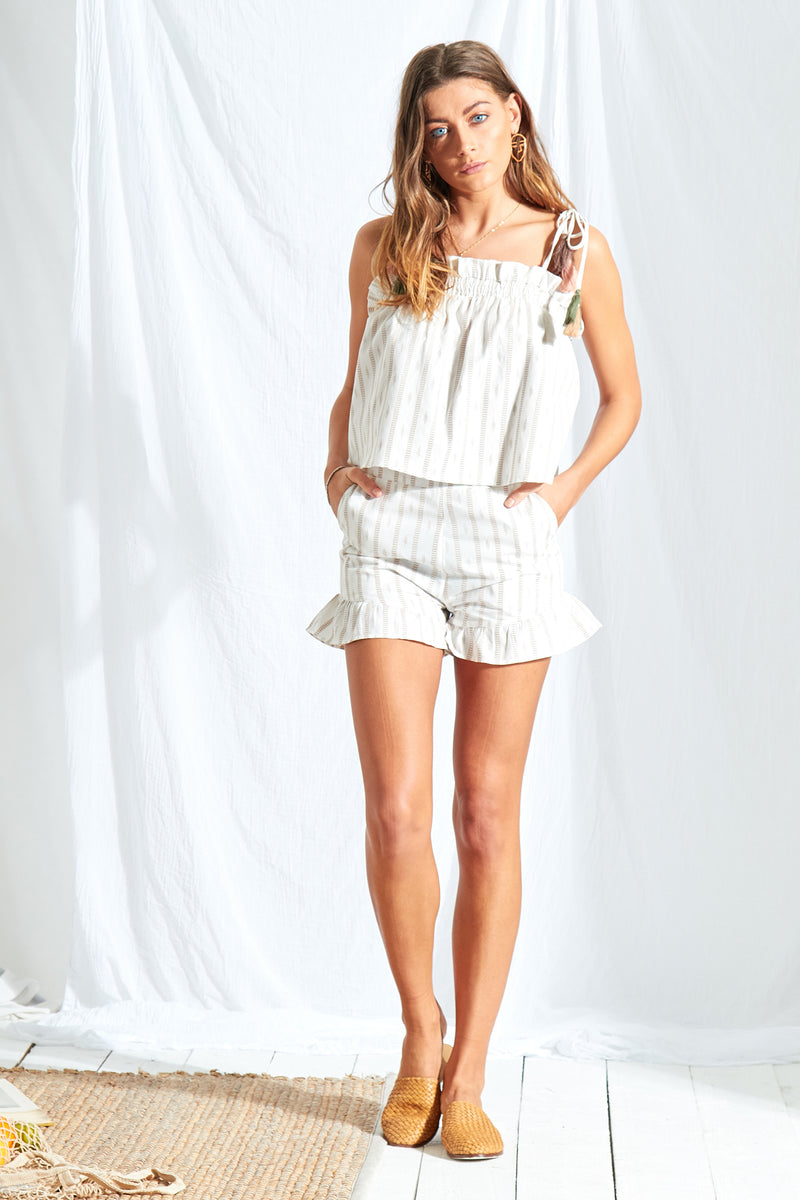Stripe Ruffle Hem Shorts - White