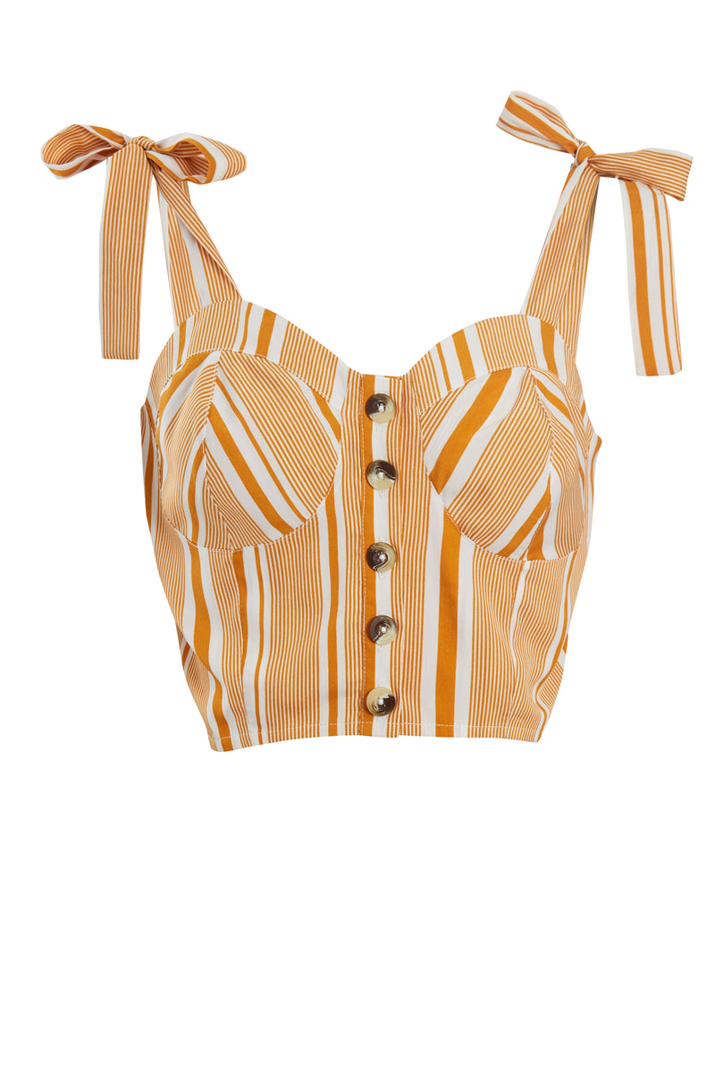 Aria Stripe Button Front Crop Top - Yellow