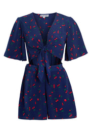 Cherry Print Tie Front Playsuit