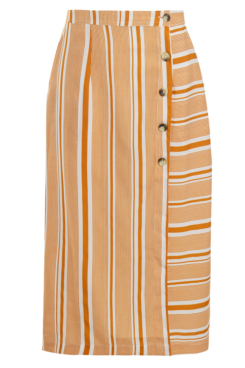 Aria Stripe Button Front Midi Skirt - Yellow