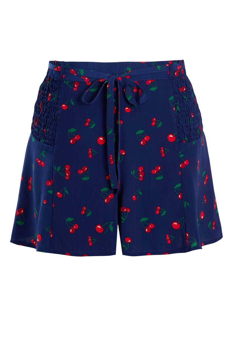 Cherry Print Shirred Detail Shorts - Navy