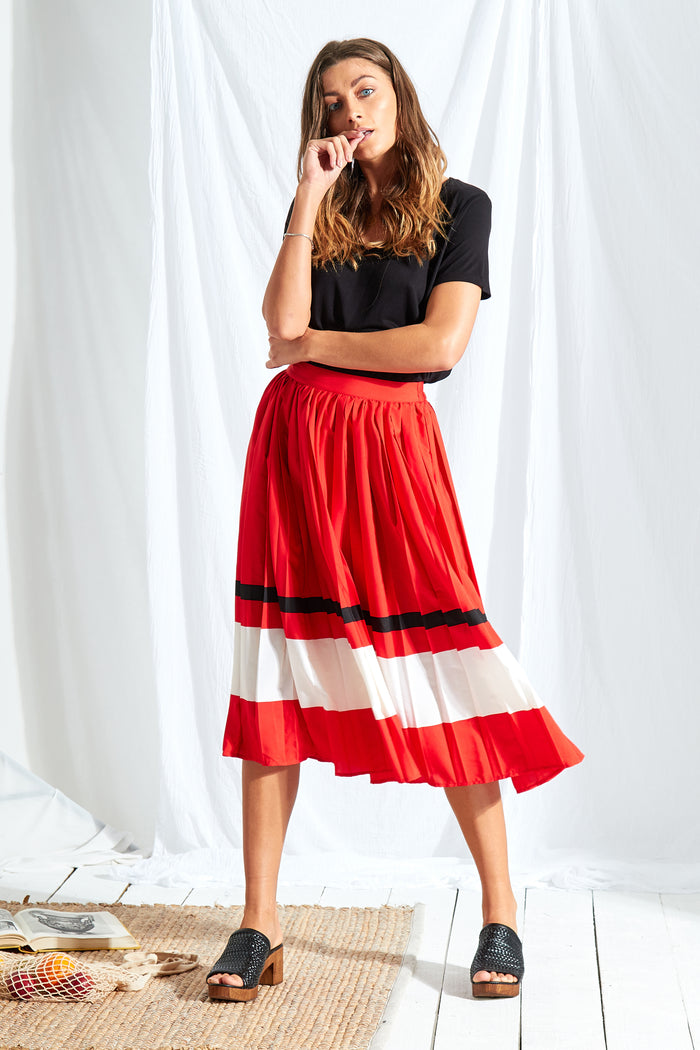 Sports Stripe Pleated Midi Skirt