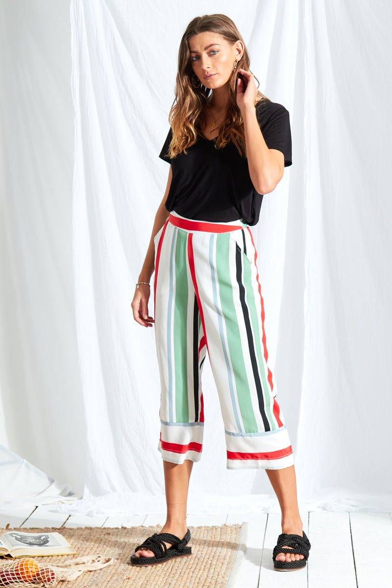Rio Stripe Wide Leg Culottes - Multi