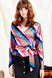 Sienna Stripe Satin Wrap Blouse