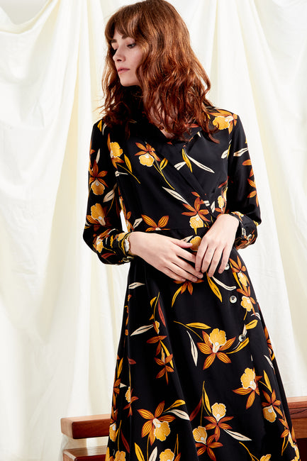 Margot Floral Button Wrap Midi Dress