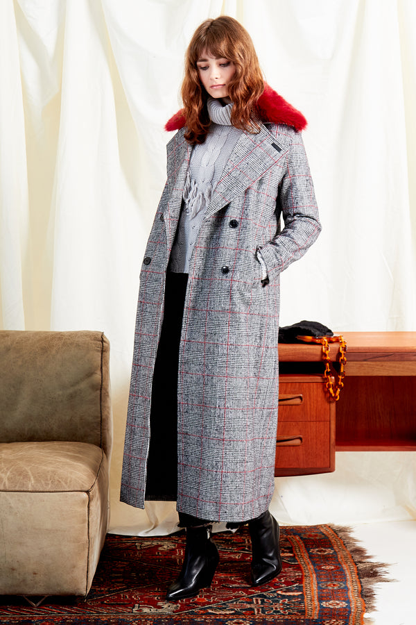 Heritage Check Oversized Maxi Coat - Grey