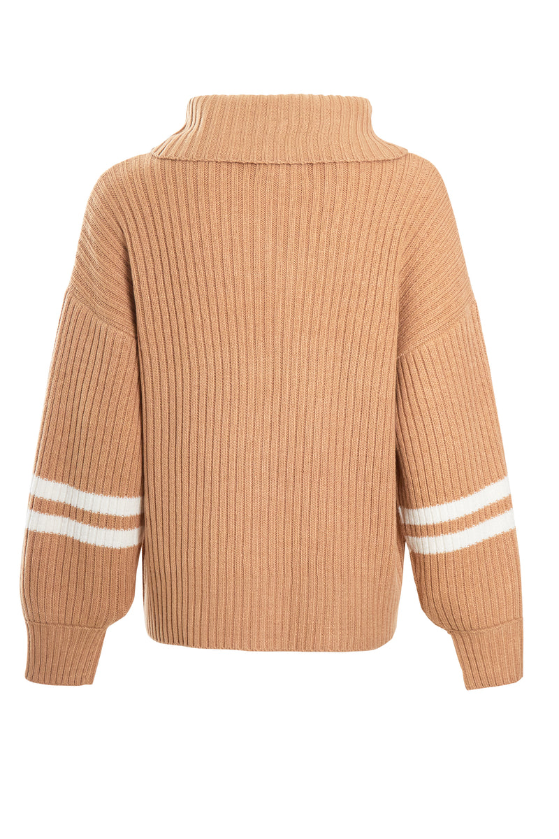 Zip Through Sports Stripe Knit - Beige