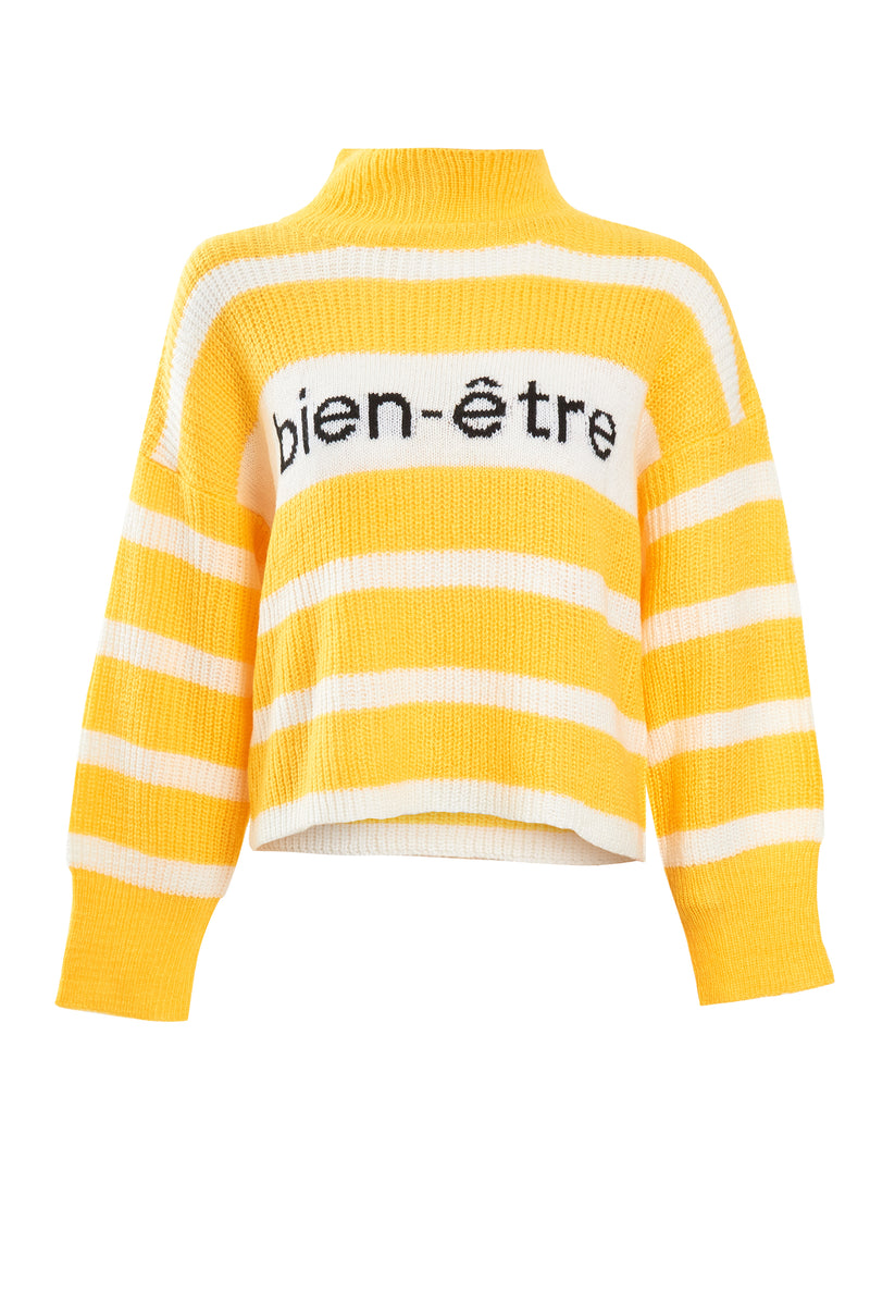 Bien-Être Cropped Stripe Knit Jumper - Yellow