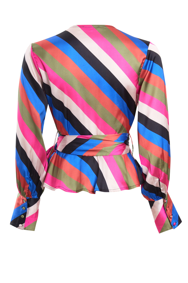 Sienna Stripe Wrap Blouse - Multi