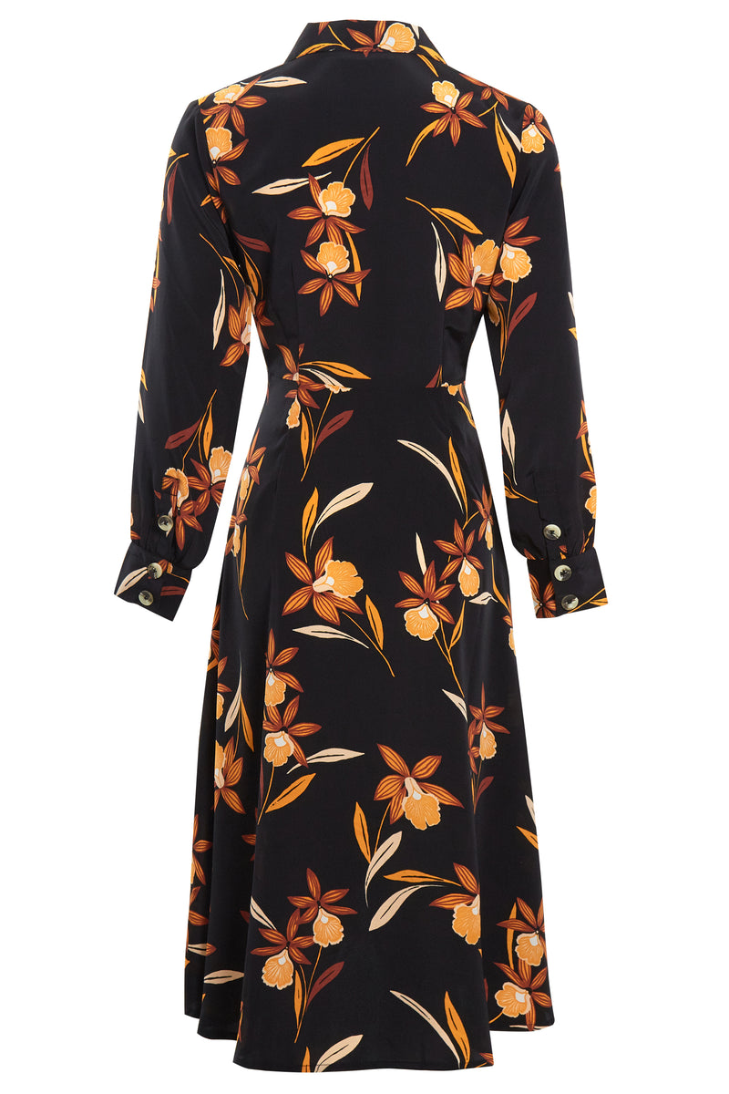 Margot Floral Wrap Midi Dress - Black