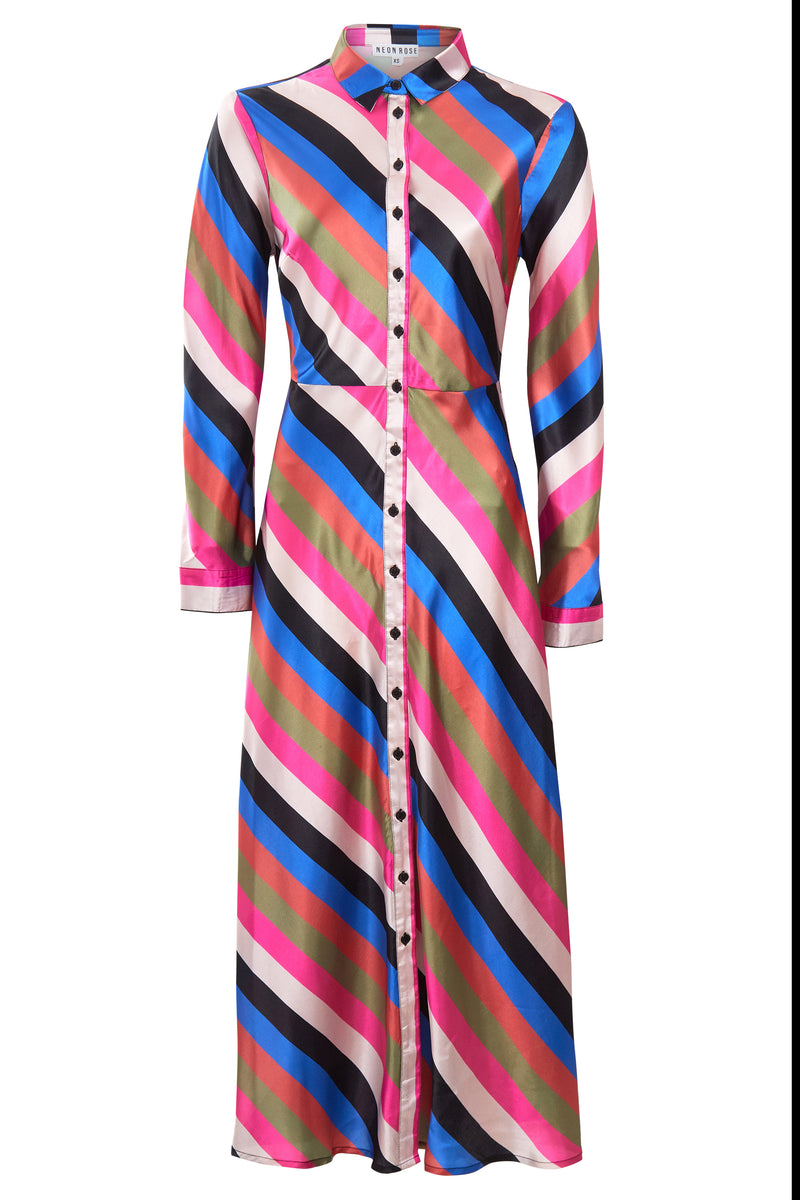 Sienna Stripe Midi Shirt Dress - Multi