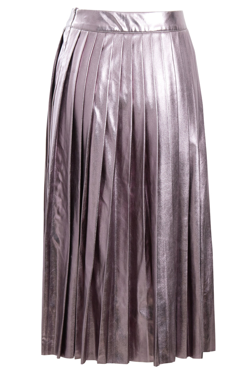 Metallic Pleated Midi Skirt - Purple