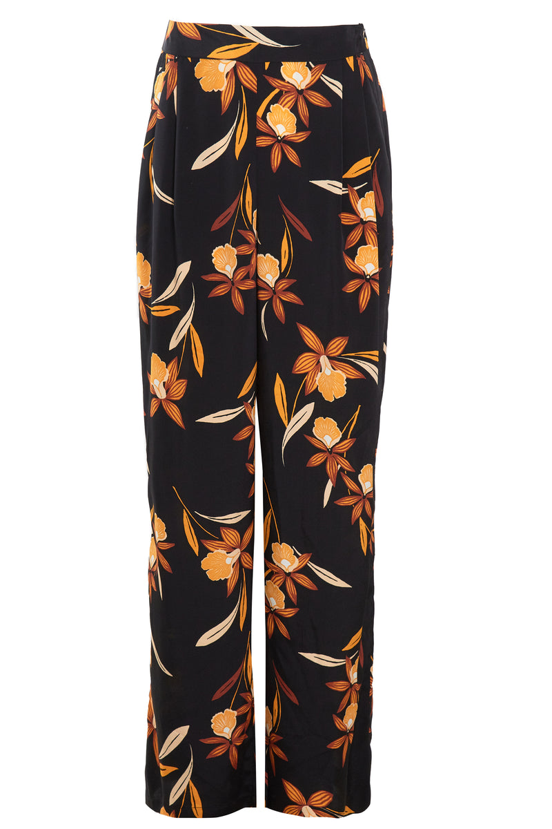 Margot Floral Wide Leg Trousers - Black