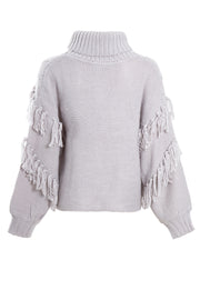 Tassel Roll Neck Cable Knit Jumper