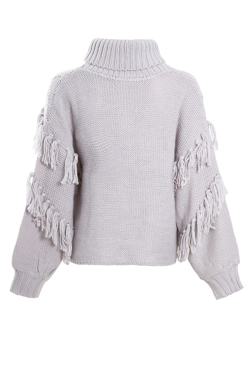 Tassel Roll Neck Cable Knit Jumper - Grey