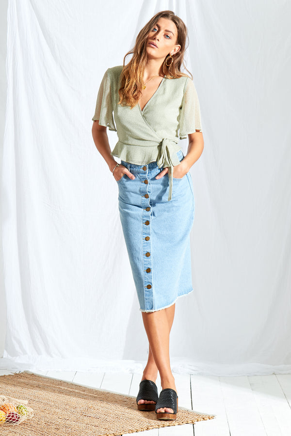 Sage Ditsy Wrap Crop - Green