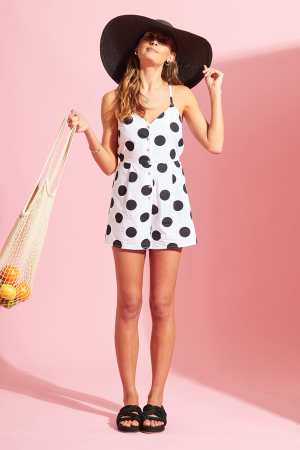 Spot Button Down Playsuit - White