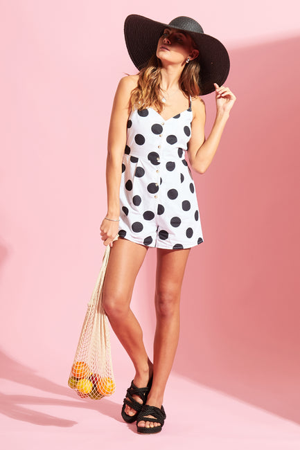Spot Button Down Playsuit