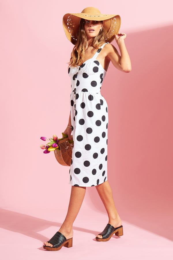 Spot Button Down Sundress - White