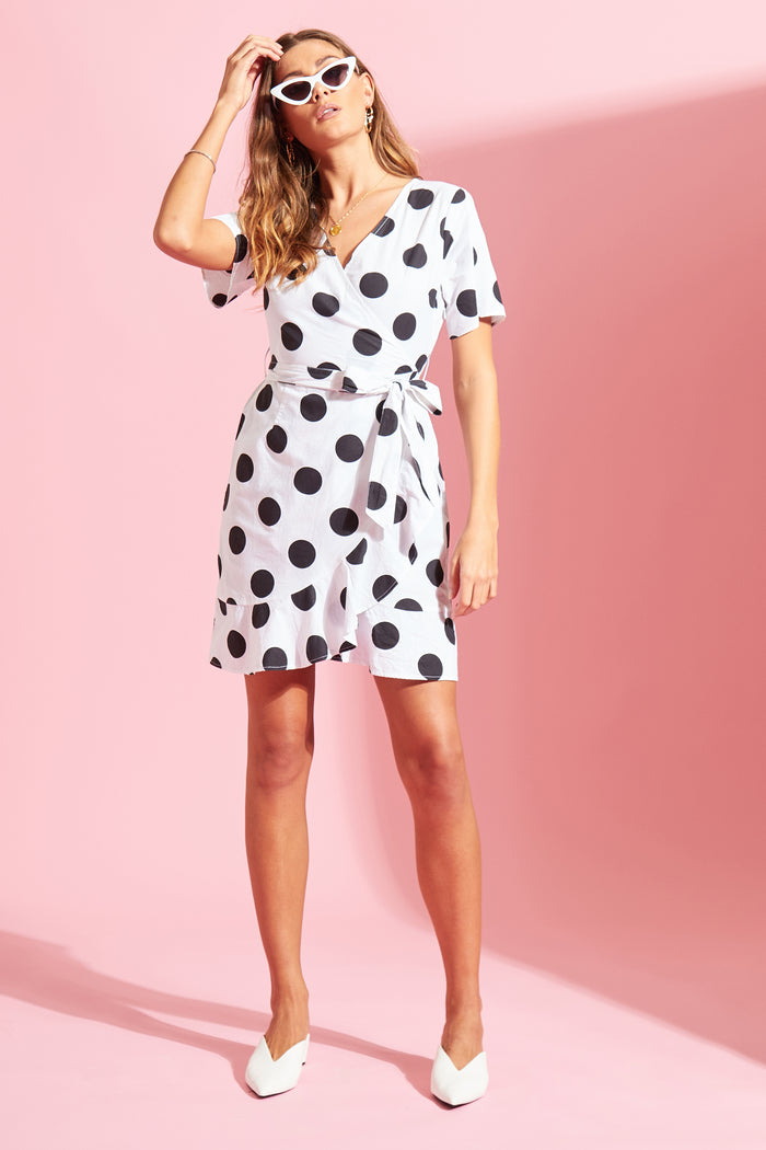 Spot Ruffle Wrap Dress