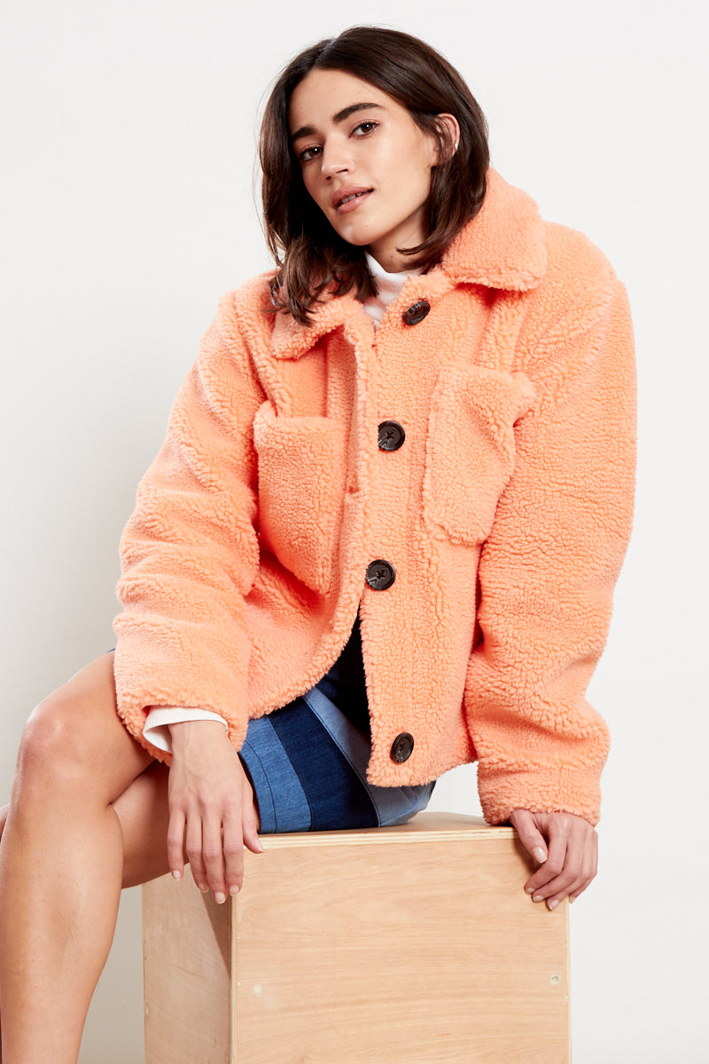Button Front Teddy Coat  <br/> Orange