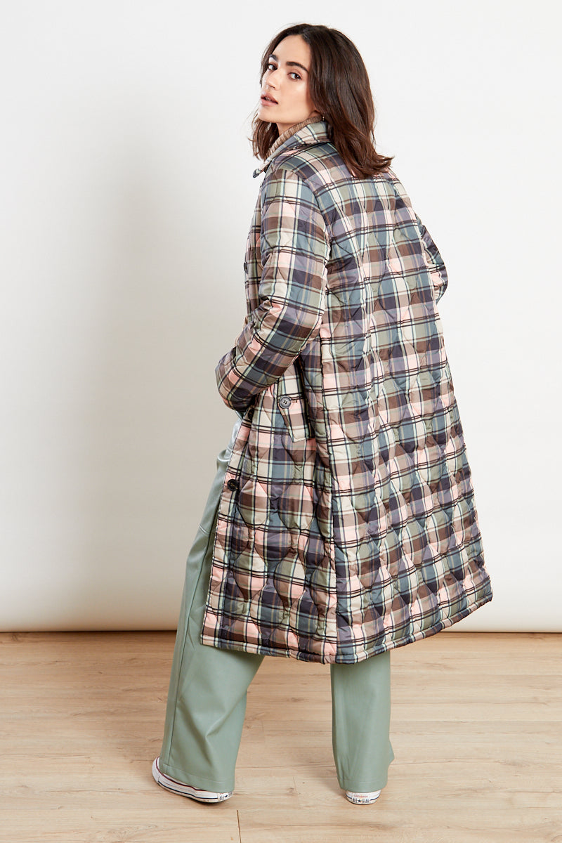 Checked Quilted Coat<br/> Multi