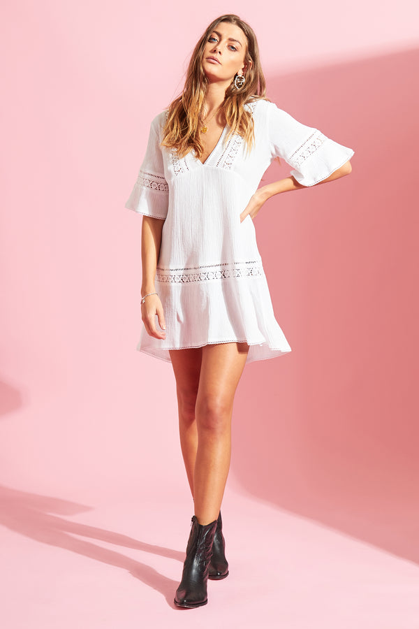 Peasant Smock Dress with Tiered Trim - White