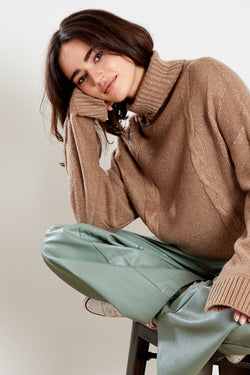 Roll Neck Cable Knit Jumper <br/> Oatmeal