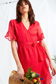 Red Ditsy Spot Wrap Mini Dress