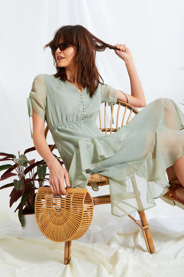 Sage Ditsy Spot Midi Dress