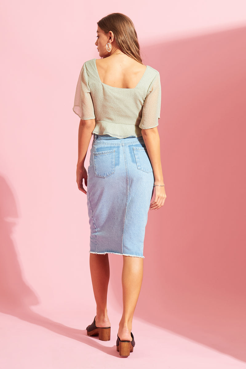 Sage Ditsy Cropped Tea Blouse