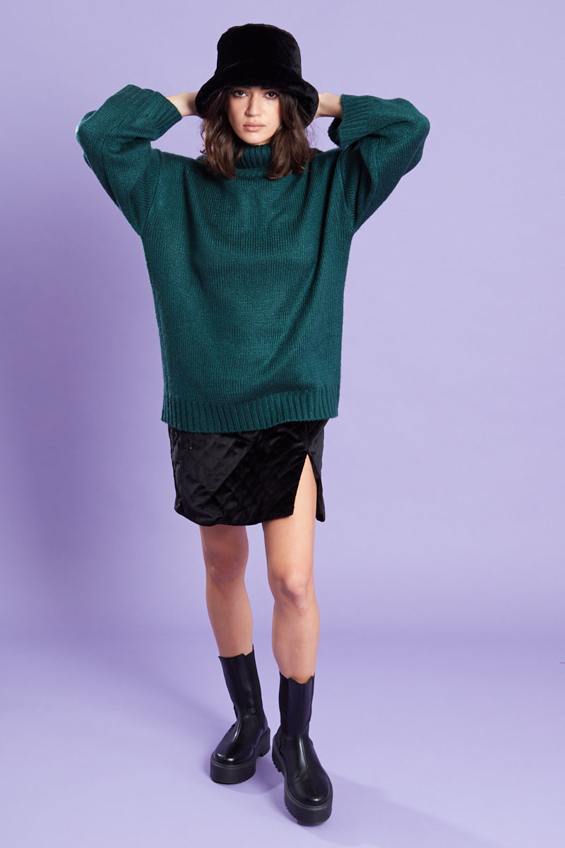 Relaxed Fit Roll Neck Jumper  <br/> Forrest green