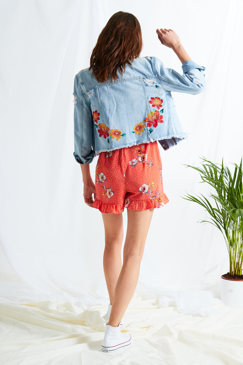 Embroidered Denim Jacket - Blue