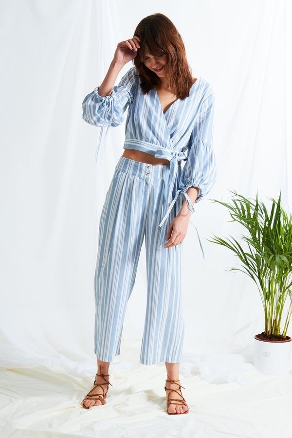 Romy Stripe Wrap Shirt - Blue