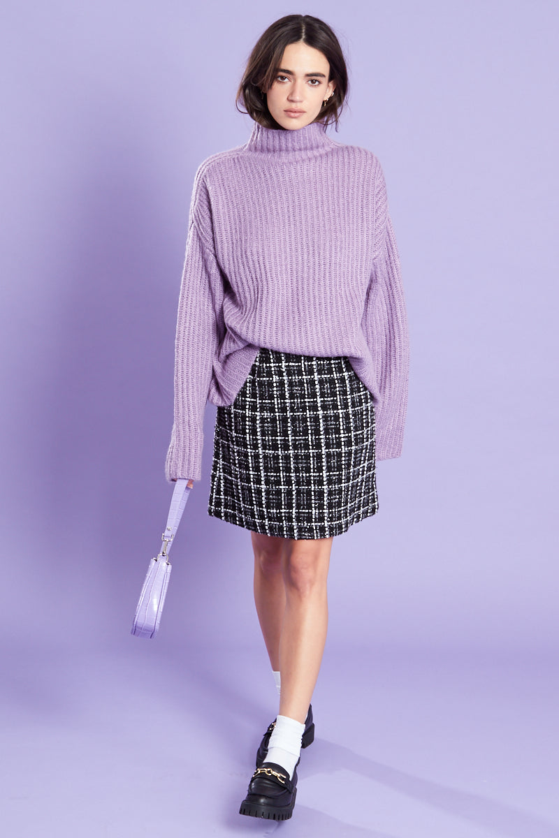 Funnel Neck Ribbed Jumper  <br/> Lilac