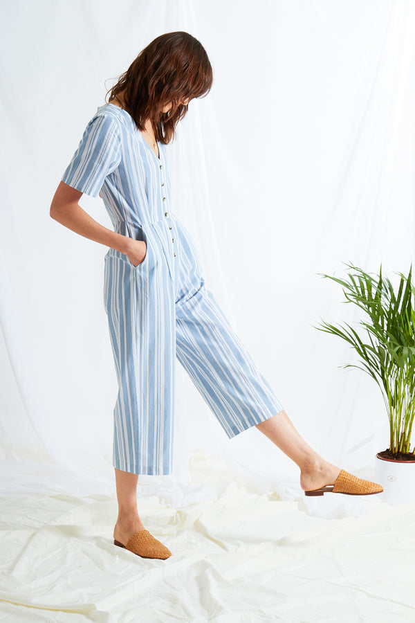 Romy Stripe Jumpsuit - Blue