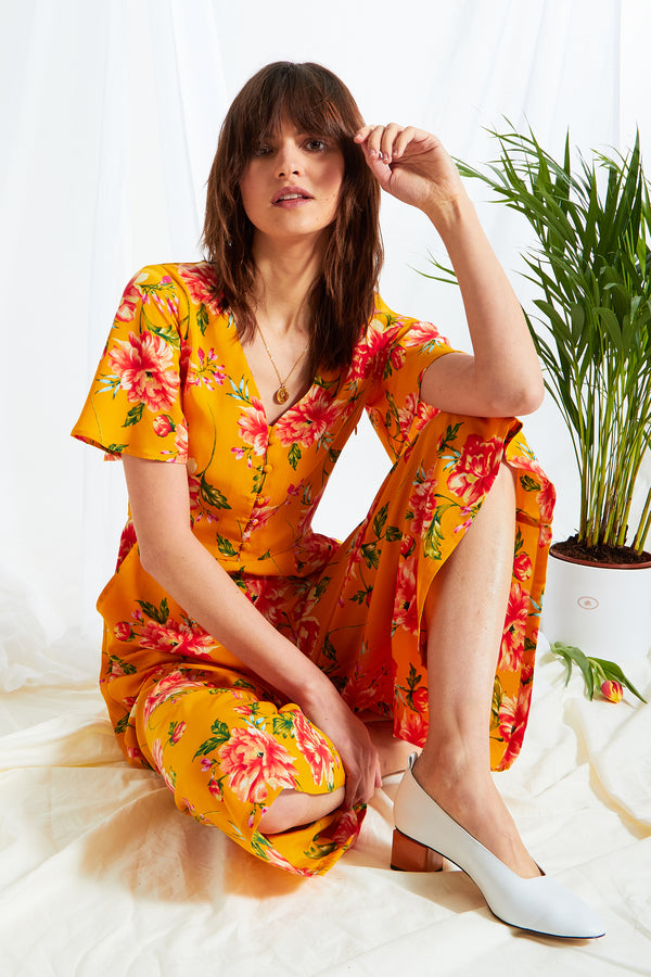 Gardenia Floral Tea Jumpsuit - Yellow