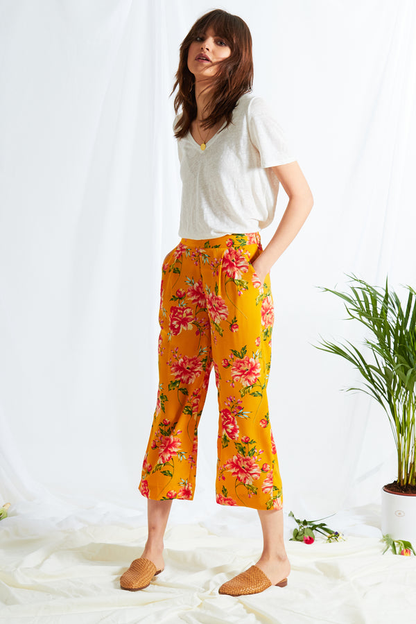 Gardenia Floral Cropped Trouser - Yellow