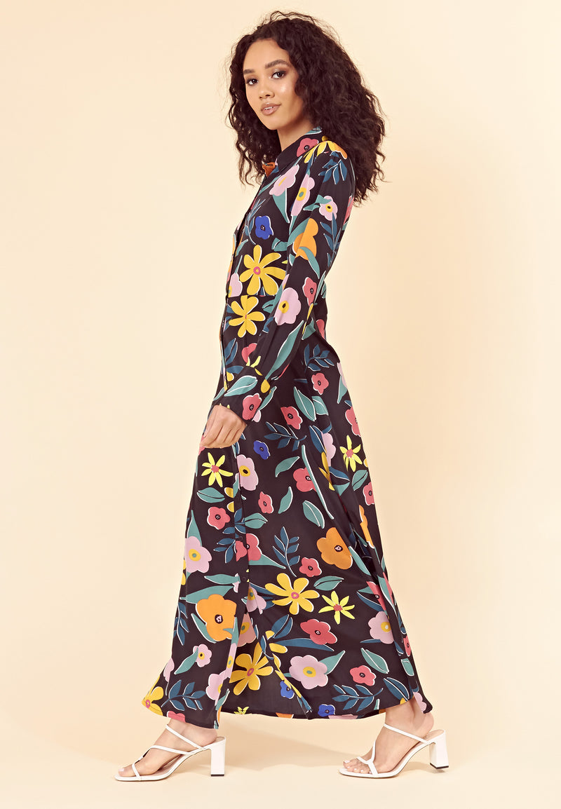 Retro Floral Maxi Shirt Dress <br> Multi
