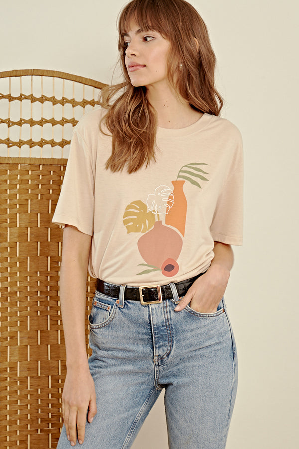 Vase Abstract Printed T-Shirt <br/> Stone