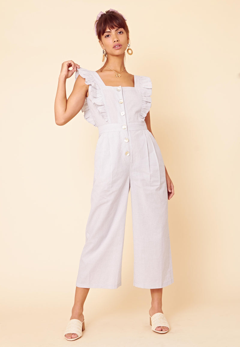 Ruffle Sleeve Gingham Jumpsuit <br> Grey