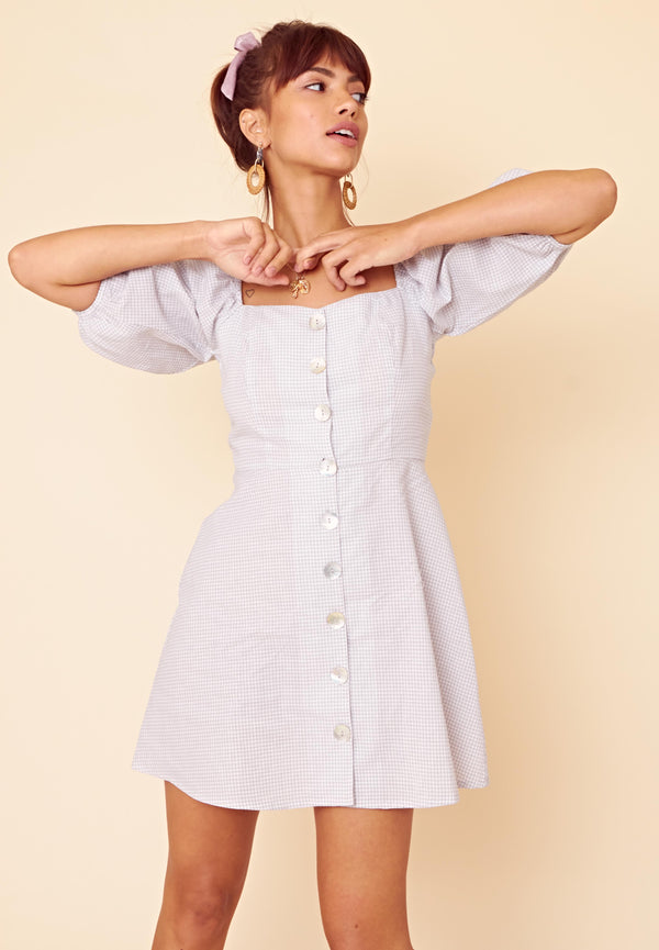 Button Front Gingham Dress <br> Grey