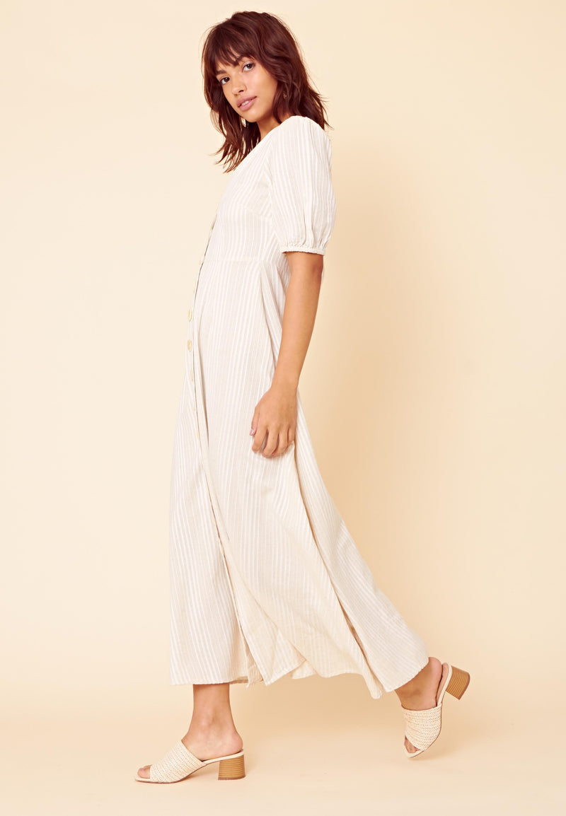Button Front Stripe Maxi Dress <br> Grey